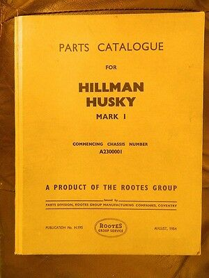 HILLMAN  HUSKY  Mark I  Parts  Catalogue  Aug. 1954