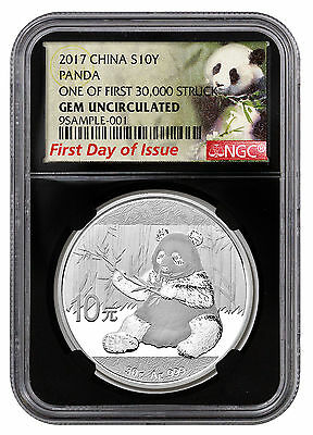 2017 China 10Y 30g Silver Panda NGC GEM BU FDI First 30k Struck Lbl Blk SKU45026