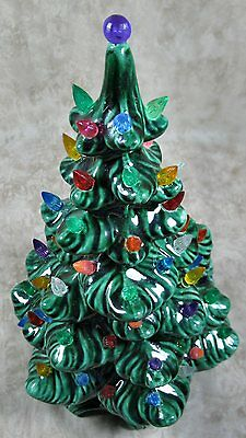 "Vintage Atlantic Mold 11"" Green Christmas Tree Lighted Withe Bulbs Works Great"
