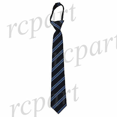 New Kids Boys Zipper up Adjustable Pre-tied Necktie black blue navy Stripes