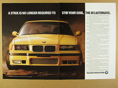 1995 BMW M3 Automatic yellow car color photo vintage print Ad
