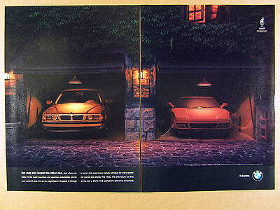 1995 BMW 740iL cars in garage photo vintage print Ad