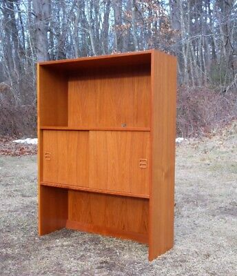 Vtg Mid Century Danish Modern Teak Bookcase Shelves Entertainment Unit Cabinet