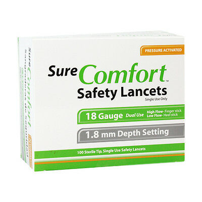 Pressure Activated Safety Lancets 18Gx1.8mm 100/bx Dual Use Finger or Heel Stick