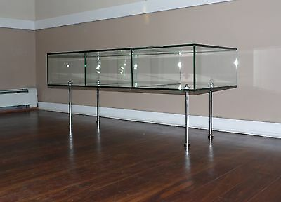 Vintage Mid Century Modern Glass Case Coffee Table Glass & Chrome Cube Display