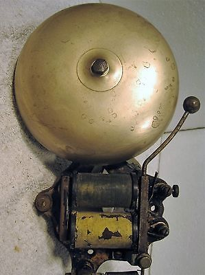 """Vintage Faraday 6"""" brass electric fire alarm gong or bell"""