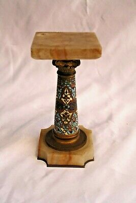 Magnificent 19C French Bronze Enameled On Marble Miniature Stand