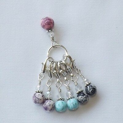 CROCHET / KNITTING STITCH MARKERS HANDMADE BEADED. polymer + crystal beads #011