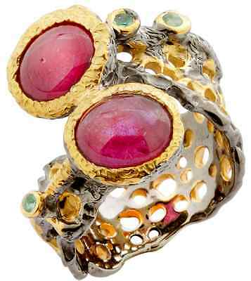 Natural Ruby Gemstone Ring in solid 925 silver- hand forged artwork- size 8