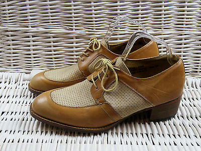 Vintage Mens Size 9 Frank Wright Two Tone Leather Swing Shoes Heels UNWORN