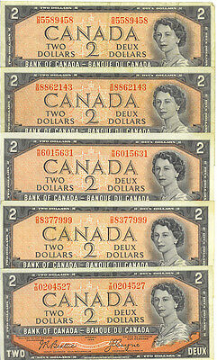 Bank of Canada 1954 $2 Two Dollars Lot of 5 Notes Better Prefixes F/VF