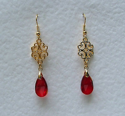 LACY FILIGREE VICTORIAN STYLE RED GLASS CRYSTAL GOLD PLATED DROP EARRINGS Hook