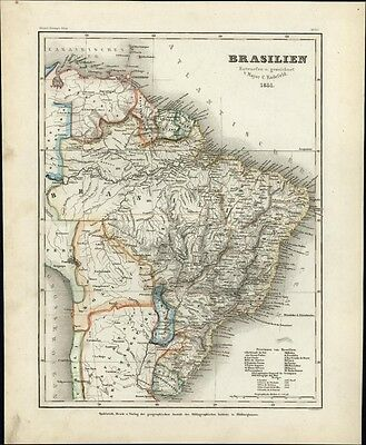 Brazil So. America Radefeld c.1851 Meyer scarce detailed fascinating antique map