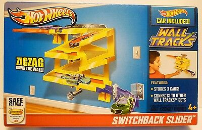 Hot Wheels Switchback Slider Wall Tracks - Wall Mounted - Zigzag Cars 3M Tape
