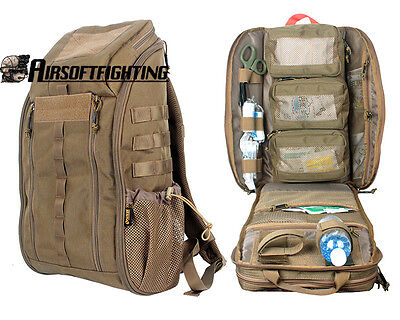 MOLLE Tactical Outdoor Medical First Aid Backpack Travel Pouch Case Tools Bag CB