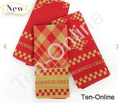 Mackenzie Childs   Wintry Dish Towels - Set of 3  NEW
