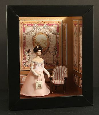 Porcelain Lady Doll Pink Peach Gown With Hand Sculpted Chair Small Display Box