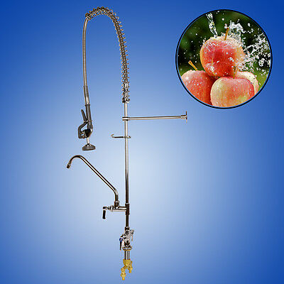 """Commercial Deck Mount Pre Rinse Faucet w/ 12"""" Swivel Add-On Mixer Tap"""
