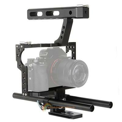 15mm Rod Rig DSLR Camera Video Cage Stabilizer+Top Handle Grip for Sony A7/A7r