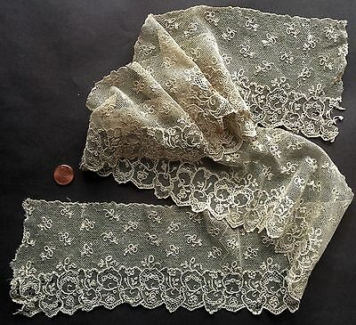Early 1800s handmade Alencon needle lace w petit reseau COLLECT
