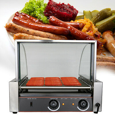 Commercial 30 Hot Dog 11 Roller Grilling Machine w/Cover Party Store Kitchen