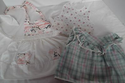 lot of 5 vintage baby girl bib dress booties pinafore plastic pant 6-12 mos
