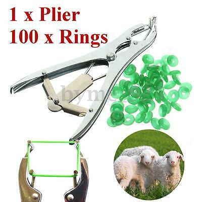 Sheep Castration Banding Tail Docking Applicator Cattle Marking Plier +100 Rings