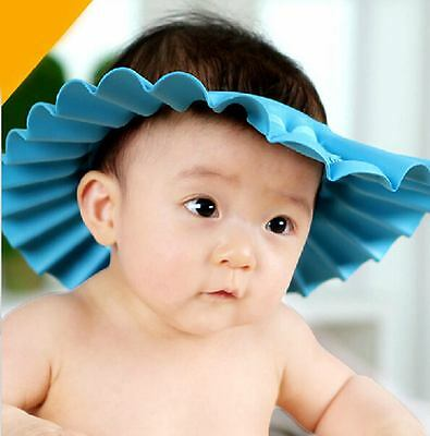 Kids Toddler Baby Bath Hat Shower Shampoo Visor Hats Wash Hair Shield Blue Cap
