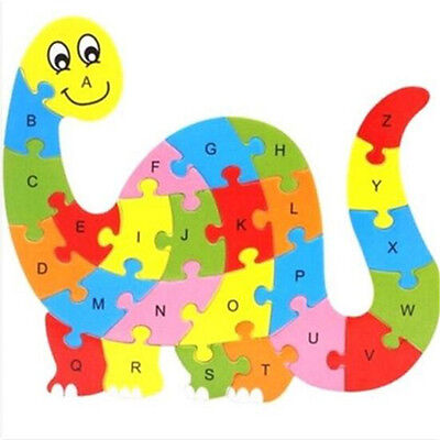 Wooden Blocks Kid Child Educational Alphabet Puzzle Jigsaw Toy ~Dinosaur