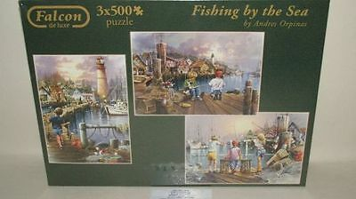 Puzzle Falcon  Fishing by the See  3 x 500 Teile Jumbo 11048 NEU