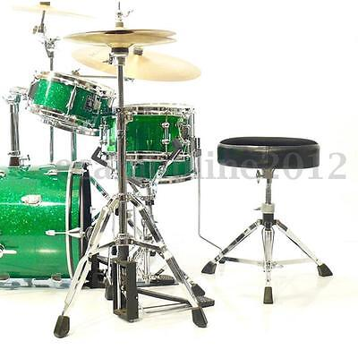 Black Adjustable Leather Padded Seat Drum Throne Stool Stand Piano Drummer Chair