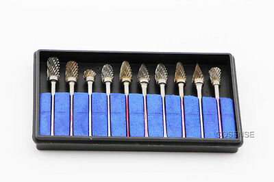 10x Tungsten Steel Solid Carbide Dental Burs Lab Burrs Tooth Drill 2.35mm Shank