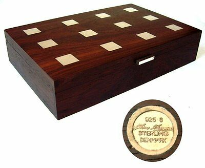 Hans Hansen - Zigarren Holz Silber Dose - Rosewood Box Sterling Silver 925 Inlay