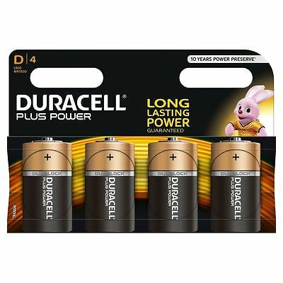 4 x Duracell D Size Batteries Plus Power Alkaline MX1300 LR20 MN1300 Mono
