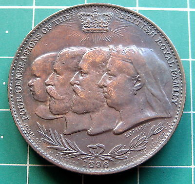 1896 Q Victoria Four Generations Diamond Jubilee Medal Error Not Remington 32mm