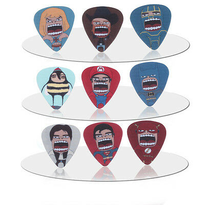 10x Character Guitar Picks- Accoustic Electric Bass Plectrums Plec Assorted UK