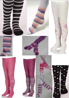Baby Toddler Girls Tights Nifty Cotton Rich Stripe Glitter Flowers Pink Black