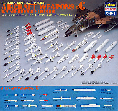 Hasegawa X48-3 AIRCRAFT WEAPONS C U.S. MISSILES & GUN PODS 1/48 from Japan