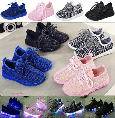 New Children Kids Boys Girls Luminous Sneakers Running shoes Led Light Up Shoes
