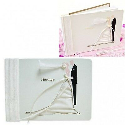 Livre d'Or, Album photo de mariage, Couple en relief organza et satin, 21 x 15 c