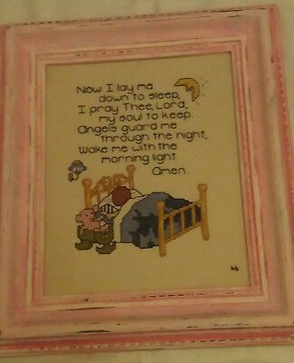 VINTAGE Cross Stitch Childs Bedtime prayer, Complete with distressed frame.