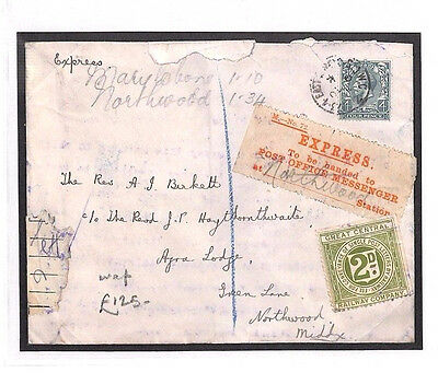 AK1 c1930 GB RAILWAY LETTER STAMP Marylebone*GCR* Express Label Northwood Middx