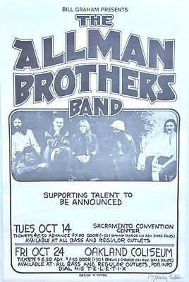 The Allman Brothers Band Concert Poster 1975