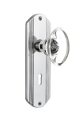 Oval Clear Crystal Glass Double Dummy Door Knob with Deco Plate