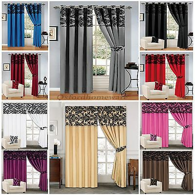 Luxury Damask Curtains Ring Top Eyelet & Pencil Pleate Fully Lined Inc Tie Backs