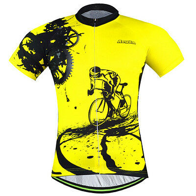 Men's Cycling Jersey Clothing Bicycle Tops Bike Jacket T-shirt Quick Dry Yellow