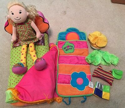 Groovy Girls LOT Flower Power PLUSH BED DOLL SLEEPING BAG AND ACCESSORIES!!
