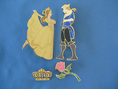 BEAUTY & The BEAST  Disney Pin  SET of 4  BELLE PRINCE CROWN ROSE 2001 DS  LE