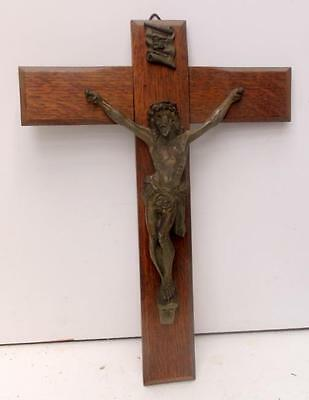 Vintage French Solid Oak & Metal Religious Cross Crucifix