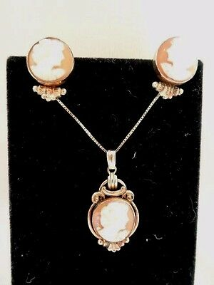 Gorgeous VAN DELL 12k G.F. & Carved Shell CAMEO Pendant & Earring Set